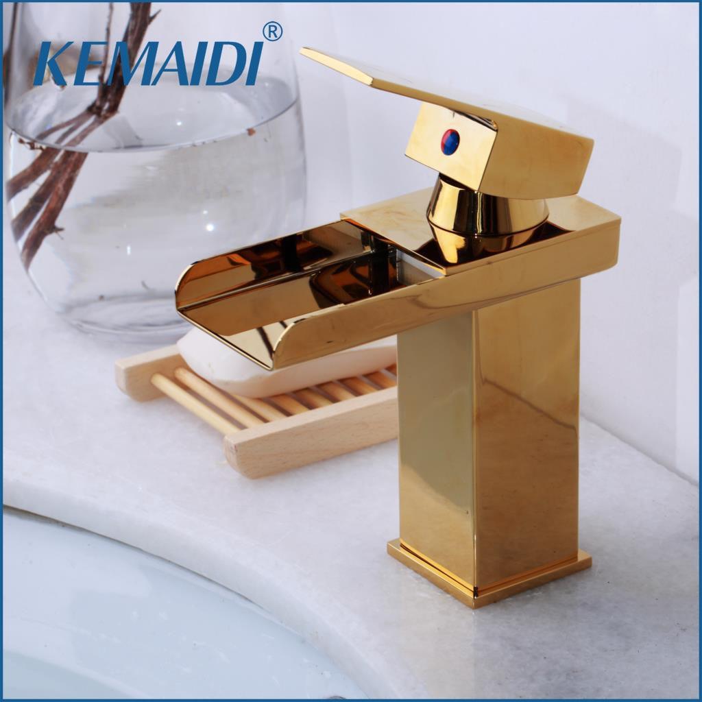 KEMAIDI RU Bathroom Basin Faucet Tap Mixer Black Waterfall Chrome Brass Water Wash Basin Mixer Tap Faucet Nickel Brushed
