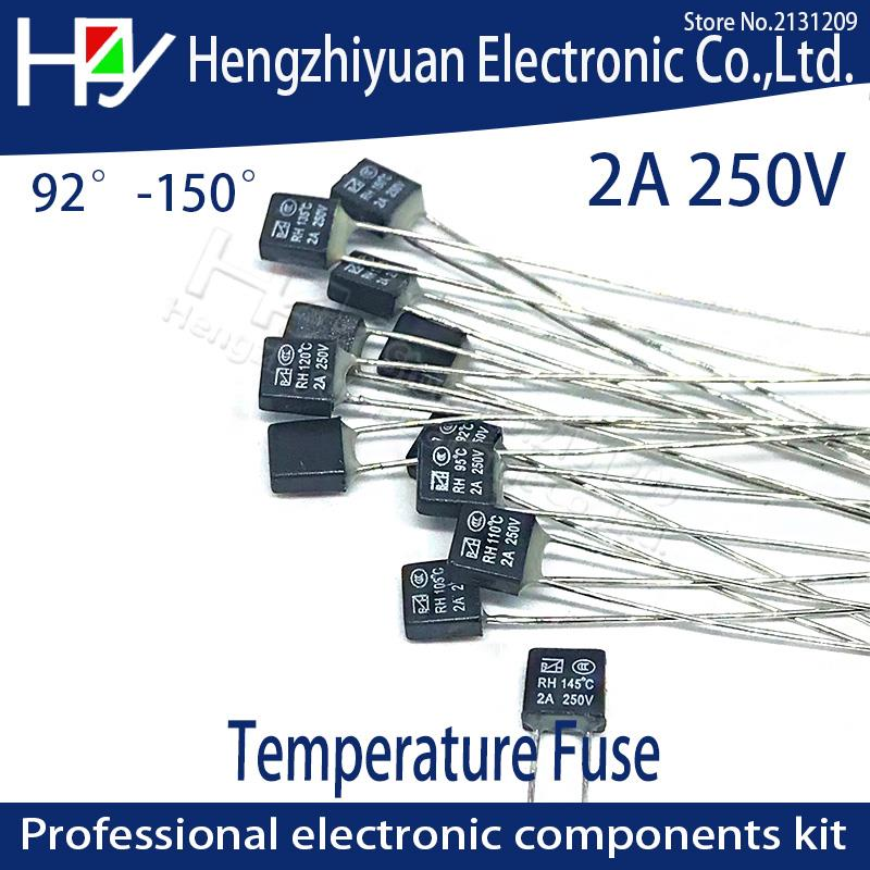 Black Square Fan Motor 2A 250V Thermal fuse LED Fues 92 95 105 110 115 120 125 130 135 140 145 150 degree Temperature Switches(China)