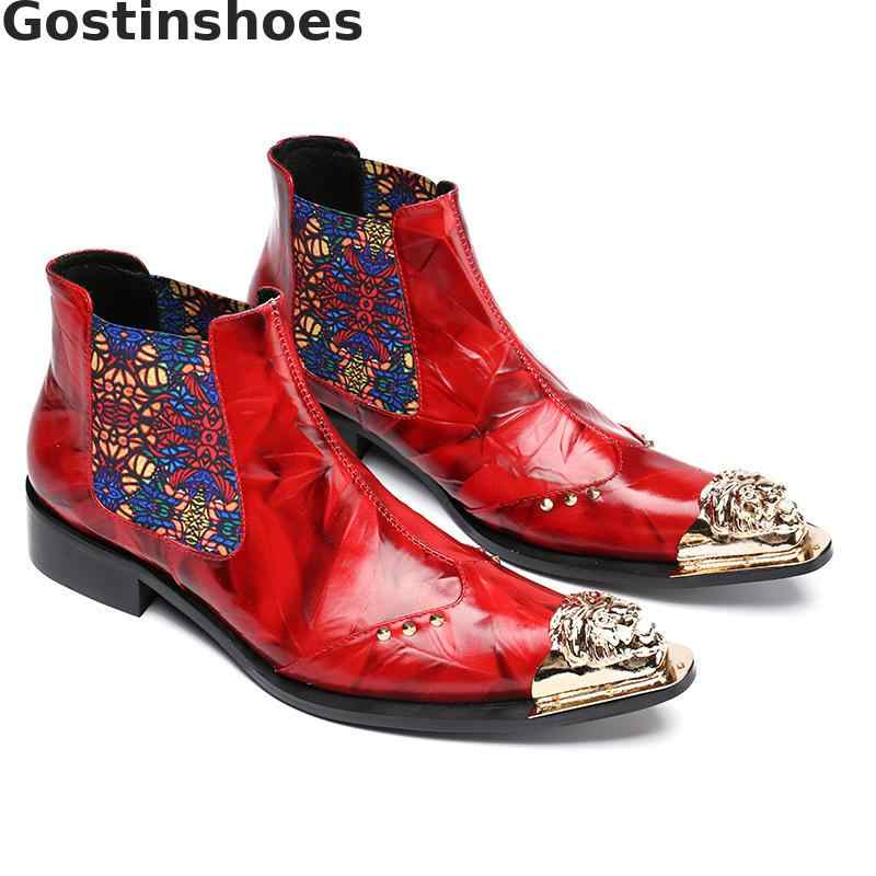 Mode Koeienhuid Mannen Laarzen Rood Lederen Slip-On Enkellaarsjes Wing Tip Metaal Bedekte Teen Toevallige Korte Laarzen voor Herfst Winter