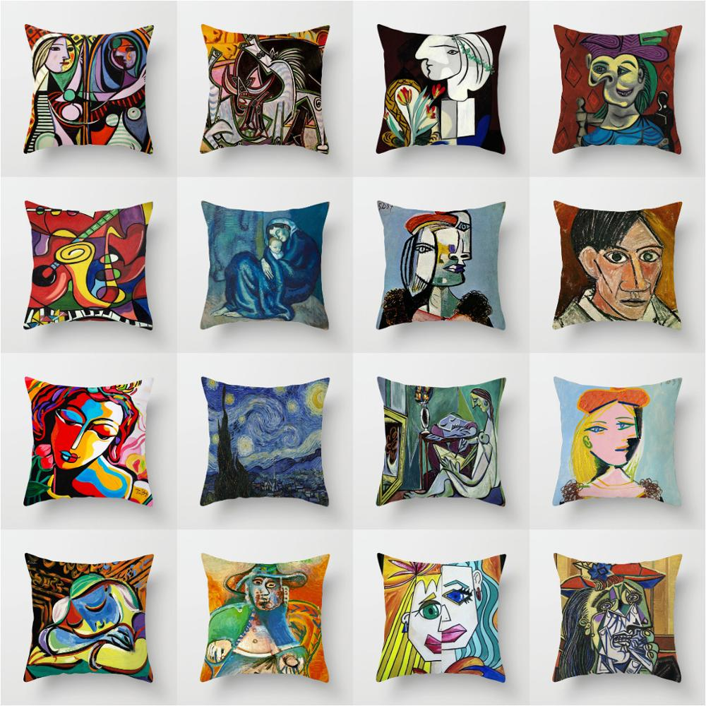 ZENGA Oil Painting Picasso Pillow Cover Decorative Cushions For Sofa Polyester Pillowcase Case On The Pillow Art Throw Pillows
