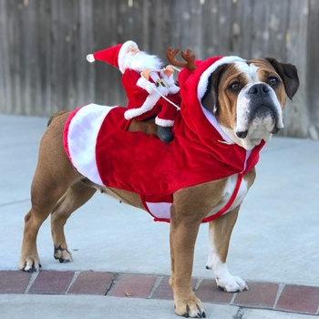 Christmas Dog Clothes Santa Dog Costumes Holiday Party Dressing up Clothing for Smal Medium Large Dogs Funny Pet Outfit Riding1 image