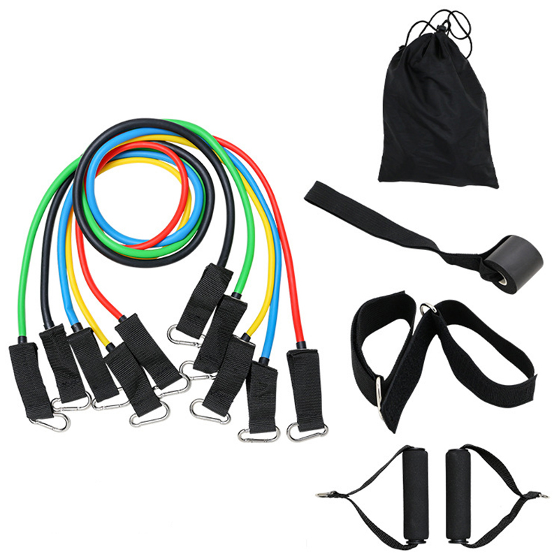 11Pcs Resistance Bands Set Yoga Exercise Fitness Band Rubber Loop Tube Bands Gym Pilates Home Body Training Workout Supplies(China)