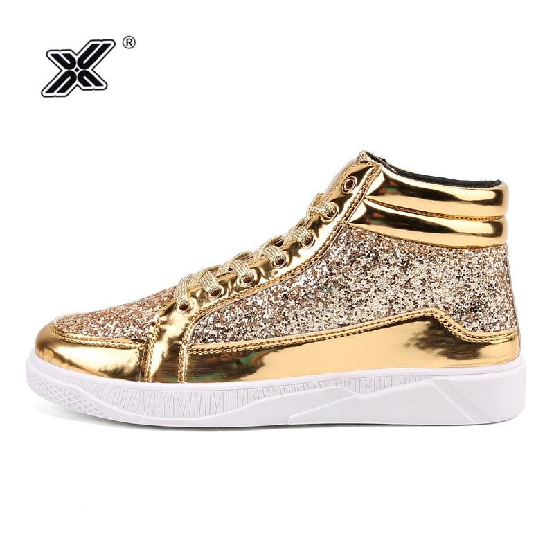 X Hot Fashion Golden Shiny Mirrors Mens Shoes Casual Club Bar Glitter Streetwear Hip Hop High Top Men Sneakers Zapatos De Hombre