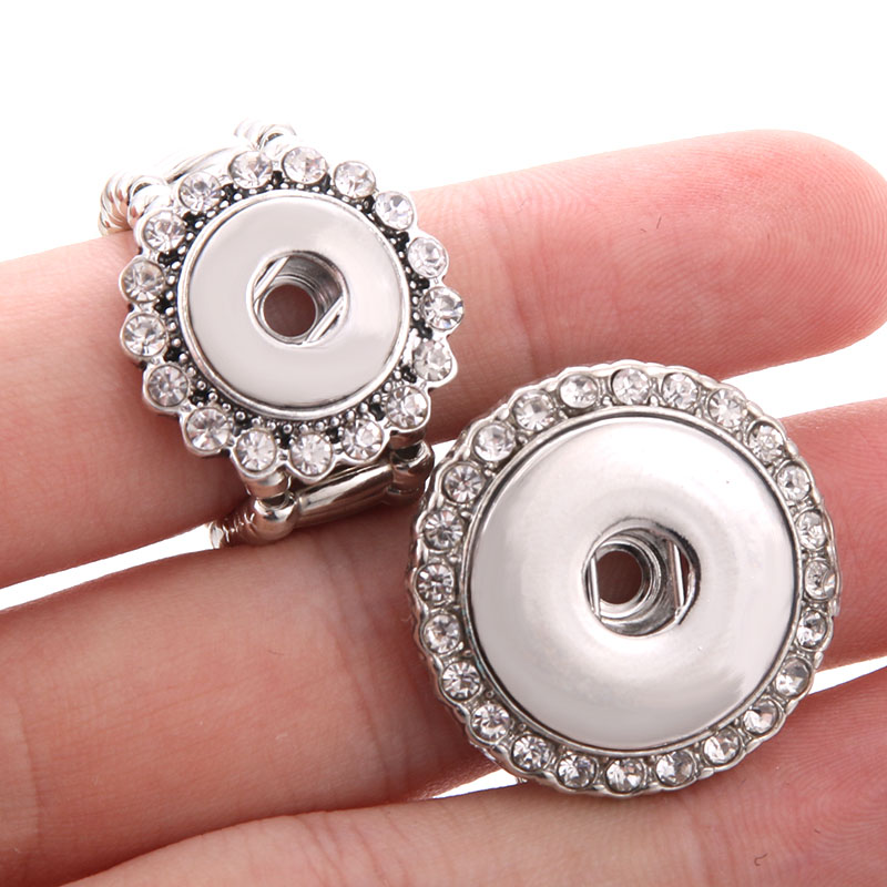 2019 New Snap Jewelry Crystal Snap Button Ring 12mm 18mm DIY Party Ring Boom Life Button Rings image