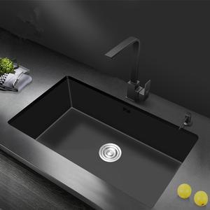 Basin Sink Under-Counter Single-Bowl Kitchen 304-Stainless-Steel Black Nano 20x16inch