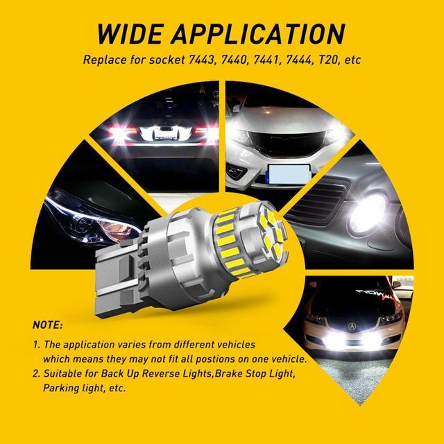 2X T20 W21W WY21W   7440, en forme de cale, ampoules à queue de stationnement, Canbus, erreur, arrêt libre, blanc et rouge, 12V