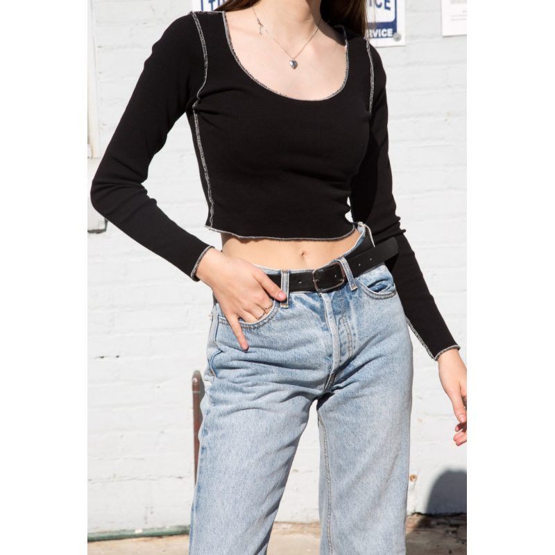 Women Cropped Fit Ribbed Long Sleeve Top In Black With White Stitch Detailing Rib Crop Tee