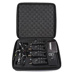 Bezprzewodowy cyfrowy alarm zgryzowy alarm wędkarski 4 ze wskaźnikiem ekranu Lcd 1 odbiornik 4 Swingers ryb z zapinaną na zamek walizką w Wykrywacze ryb od Sport i rozrywka na