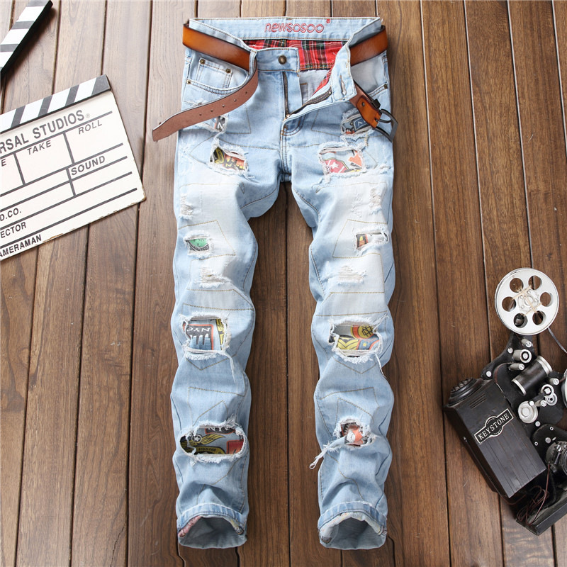 2019 AUTUMN Winter Men's Patchwork Ripped Embroidered Stretch Jeans Trendy Holes Straight Denim Trouers title=