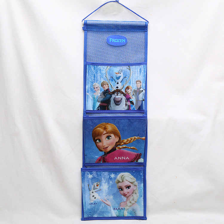 Disney Princess Children Plush Backpack Storage Hanging Bag Frozen ELSA Small Wardrobe Storage Wall Door Back Pocket Sorting Bag