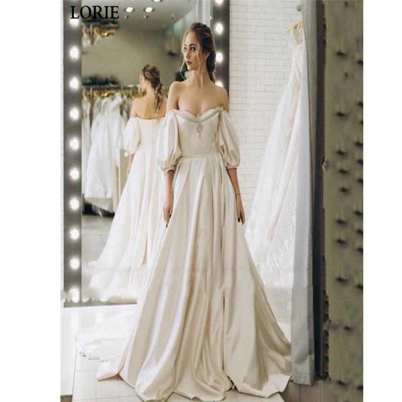 LORIE Princess Wedding Dress Long LORIE Boho Ivory Wedding Dress Satin A-Line Puff Sleeve Bride Dresses  Vestido De Voiva 2020