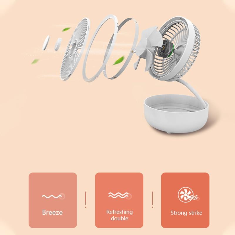 Newest 3 In 1 USB Rechargeable Fan 360 Rotation Storage Fan Fill Light  Aromatherapy Folding Fan Desktop Cooling Fan For Office