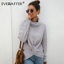 EVERAFTER Criss cross turtleneck knitted sweater women long sleeve Winter 2019 pullover jumper pull elegant femme solid sweater criss cross front sweater