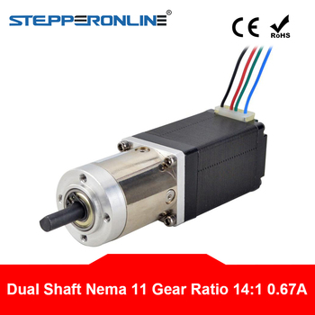 Dual Shaft 14:1 Planetary Gearbox Nema 11 Stepper Motor L=51mm 0.67A 4-lead Extruder Gear Stepping Motor image