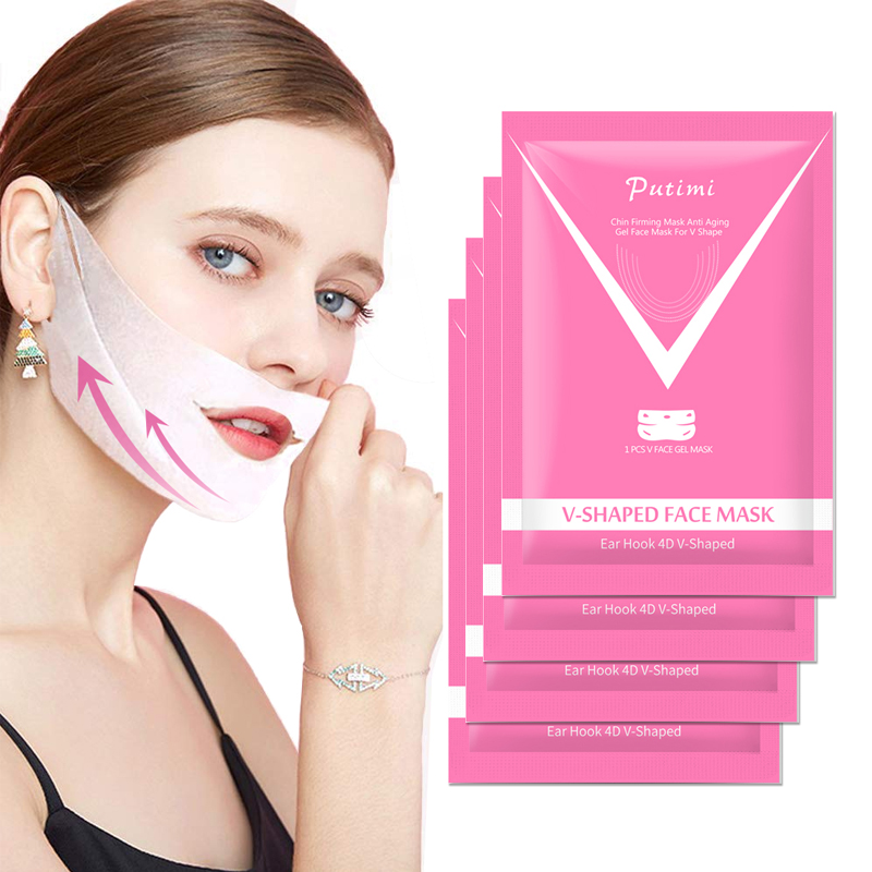 PUTIMI 1PC V Shaped Lifting Face Mask Anti Wrinkle Thin Chin Cheek Neck Lift Hydrogel Mask 4D V Shape Bandage Mask Slimming Face