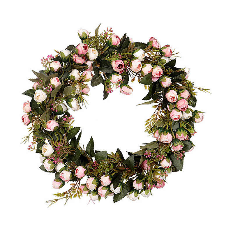 Nuovo 30cm/40 centimetri Artificiale Mini Rosa Corona Floreale Fiore Di Seta Falso Garland per La Casa Porta di casa di Nozze attaccatura di parete della Decorazione