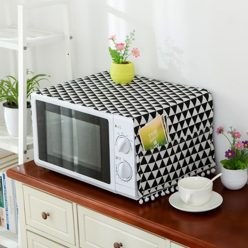 Microwave Cover Black Geometric Cotton Linen Microwave Oven Dust Cover Cloth Cover Towel Kitchen Accessories