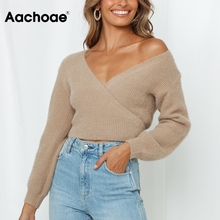 Pullover Jumper Crop-Top Khaki Sweater Back Long-Sleeve Aachoae V-Neck Casual Fashion