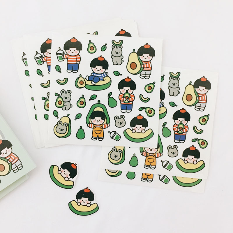 Ins Hot Cute Funny Girl PVC Stickers Seal Sticker Color Hand Account Decoration Wall Stickers Korean Campus Stationery