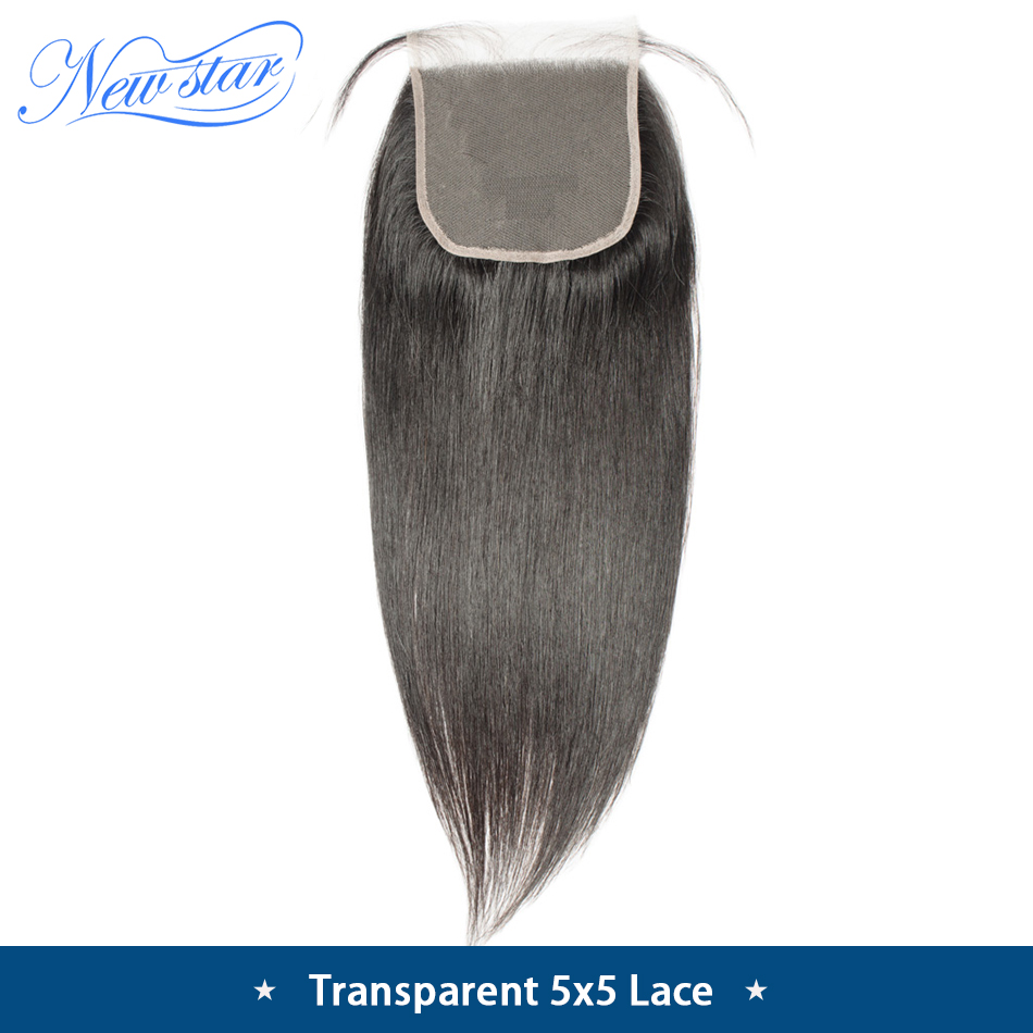 Closures Transparent Lace Human-Hair Free-Part Virgin Natural-Color Straight Brazilian
