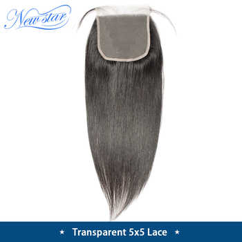 Brazilian Transparent Lace 5x5 Closures New Star Straight Virgin Human Hair Natural Color Free Part With Baby Hair Lace Closure - DISCOUNT ITEM  26% OFF All Category