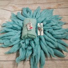 Dia=65cm 100% Wool Fluffy Baby Blanket +150*40cm Mohair Knit Wrap+matched Cotton headband for Newborn Photography Props