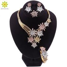 Дубай золотые Ювелирные наборы для женщин Кристалл цветок Форма ювелирных изделий классический стиль ожерелье серьги браслет свадебные ювелирные изделия