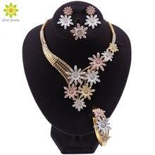 Dubai Gold Jewelry Sets for Women Crystal Flower Shape Jewelry Classic Style Necklace Earrings Earrings Bracelet Bridal Jewelry