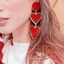AENSOA дизайн красное сердце длинные висячие для женщин девушек Леди Винтажные модные массивные Серьги Золотая Сережка Модная бижутерия