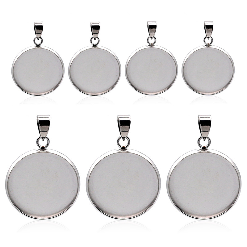 10pcs/lot Stainless Steel Blank Cabochon Base Setting Charms Pendant Fit 6 8 10 12 14 16 18 20 25 30mm  Jewelry Making Supplies