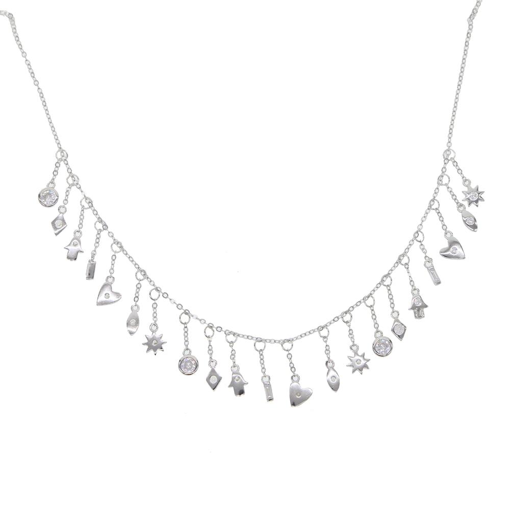 Fine 925 sterling silver bezel cz Moon and Star charm choker tassel chain elegant wedding gift women heart eye pendant necklaces