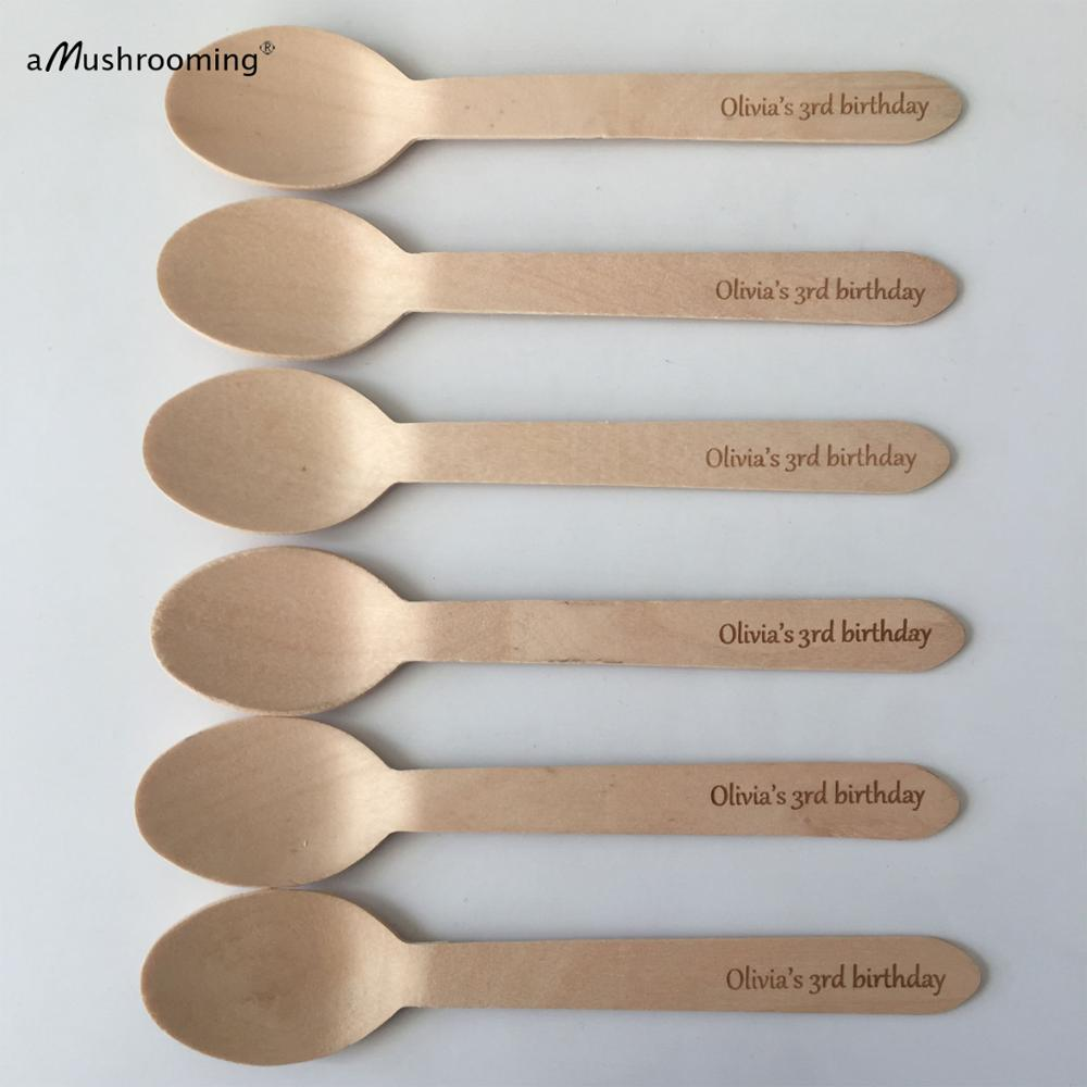 Disposable sponns wooden tableware 3rd birthday spoons personalized Birthday Party text font