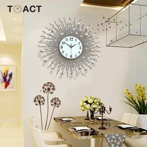 Image 5 - 60cm Luxury Diamond Wall Clock Iron Art Metal Crystal 3D Large Wall Clock Luminous Round Watch Diamond Hanging Clocks Home Decor
