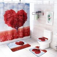 4 Pcs Romantic Love Tree Pattern Non Slip Toilet Soft Polyester Cover Mat Set Bath Rug Set Bathroom Accessories Shower Curtain