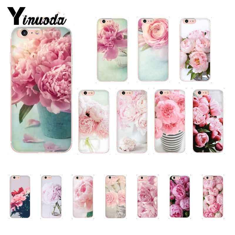 Yinuoda ピンクの花牡丹花瓶カバー電話ケース iphone 8 7 6 6S プラス X XS 最大 5 5S 、 SE XR 10 Capa 11 プロマックス
