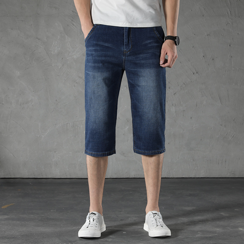 Summer Thin Section Ultra-stretch Capri Pants Men's Loose Straight Men Plus-sized Fat 7 Points Cowboy Pants