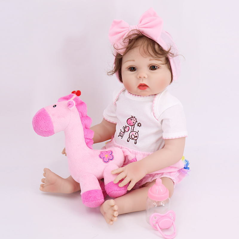 So beautiful 48cm Reborn Baby Doll Toy Real Like little Girl all Silicone vinyl Reborn Babies Alive bebe Reborn Doll kids gift