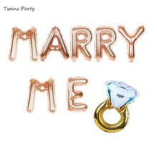Twins MARRY ME 16 Letter Balloon Banner Decor Will You Marry Me Ring Rose Gold Silver Engagement