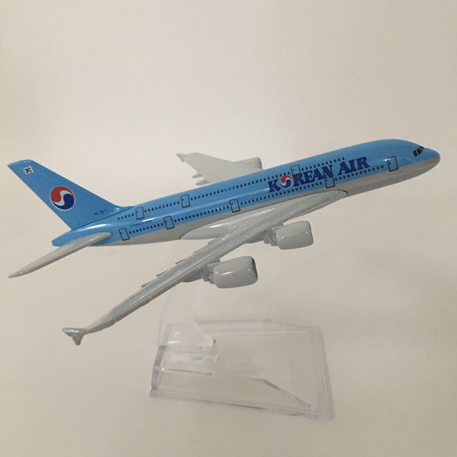 16cm Alloy Metal Airplane Model Korean Air A380 Airlines Aircraft Airbus 380 Airways Plane Model W Stand Gift free shipping 6