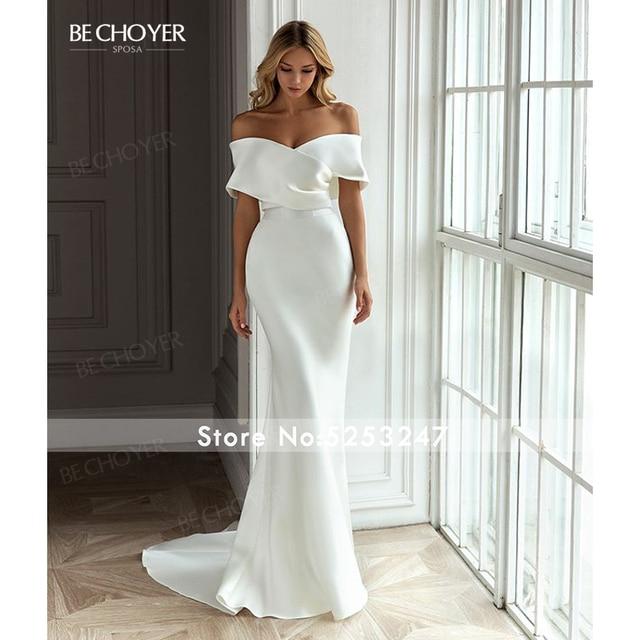 Wedding Dress 2 In 1 Detachable Train Sweetheart Satin Mermaid Vestido De Noiva 2021 Fashion Princess BECHOYER EL101 Bridal Gown 4