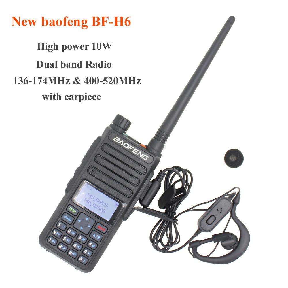 New Baofeng Radio 10W BF-H6 Powerful Walkie Talkie 136-174MHz & 400-520MHz Dual Band Two Way Radio