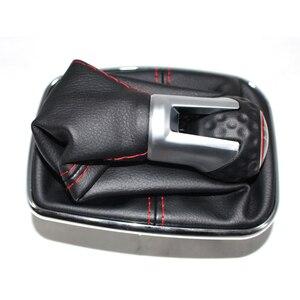 Image 2 - 폭스 바겐 MK4 골프 4 제타 4 98 04 크롬 프레임과 자동차 기어 손잡이 정품 가죽 레드 스레드 레드 링 캡 5 속도 12mm