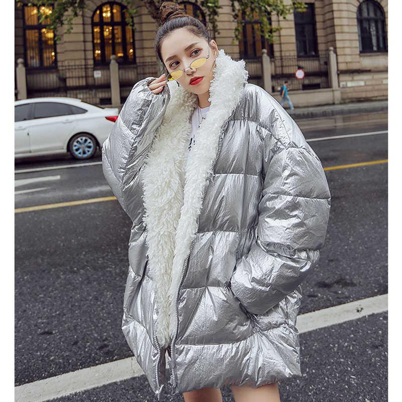 ZURICHOUSE 2019 doudoune femme hiver brillant argent mode femme Parkas lâche chaud col de fourrure manteau hiver Outwear