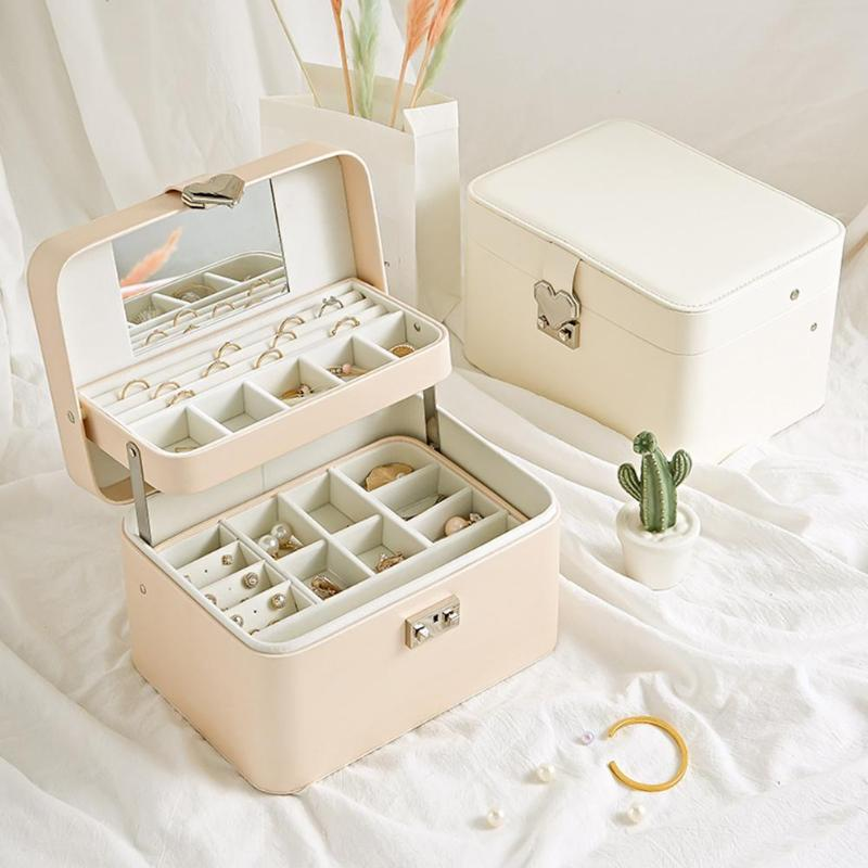 Multi-layer Earrings Box Necklace Bracelet Case Jewelry Display Organizer PU Leather Jewelry Box Case Girl Earring Necklace Box