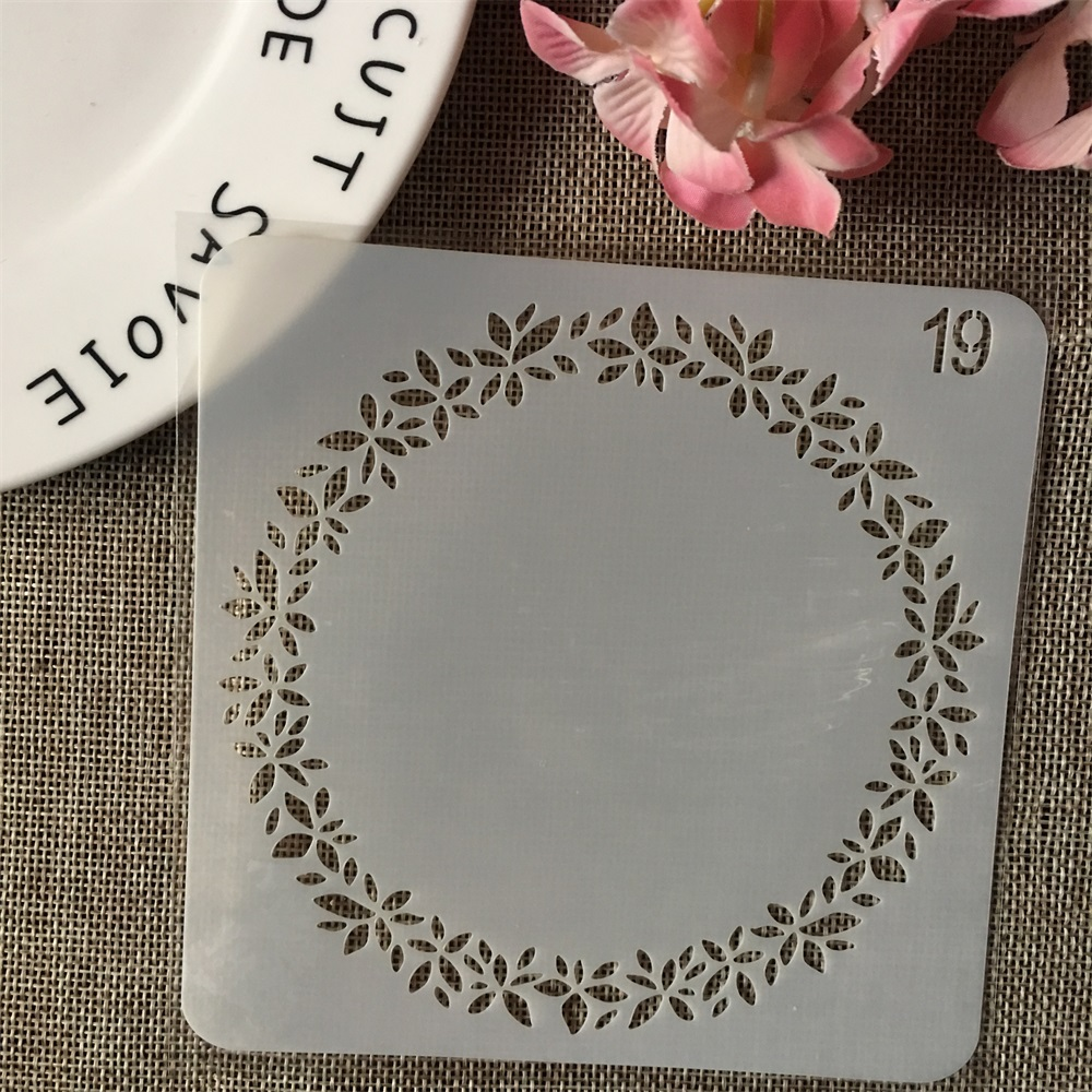 13cm Leaves Round DIY Layering Stencils Wall Painting Scrapbook Coloring Embossing Album Decorative Card Template