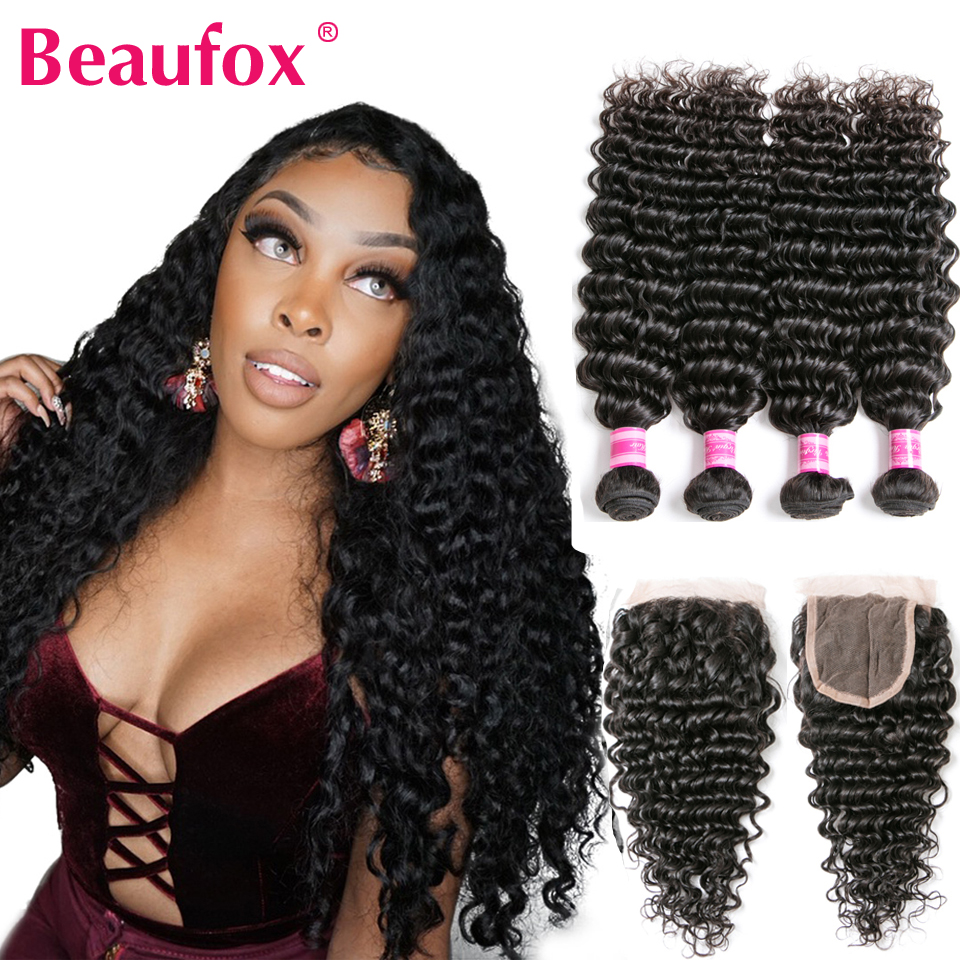Beaufox Brazilian Deep Wave Bundles With Closure Human Hair Bundles With Closure Remy Brazilian Hair Weave Bundles With Closure