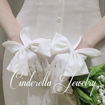 Guantes de novia elegantes blancos y negros, lazo de satén para mujer,...