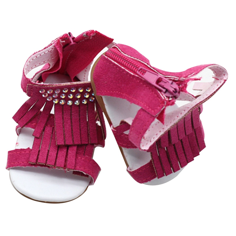 Fringed Sandals American Doll Summer Shoes Hot Drilling Sandals Flat Tassel Sandals For 18 Inch American Doll Girl