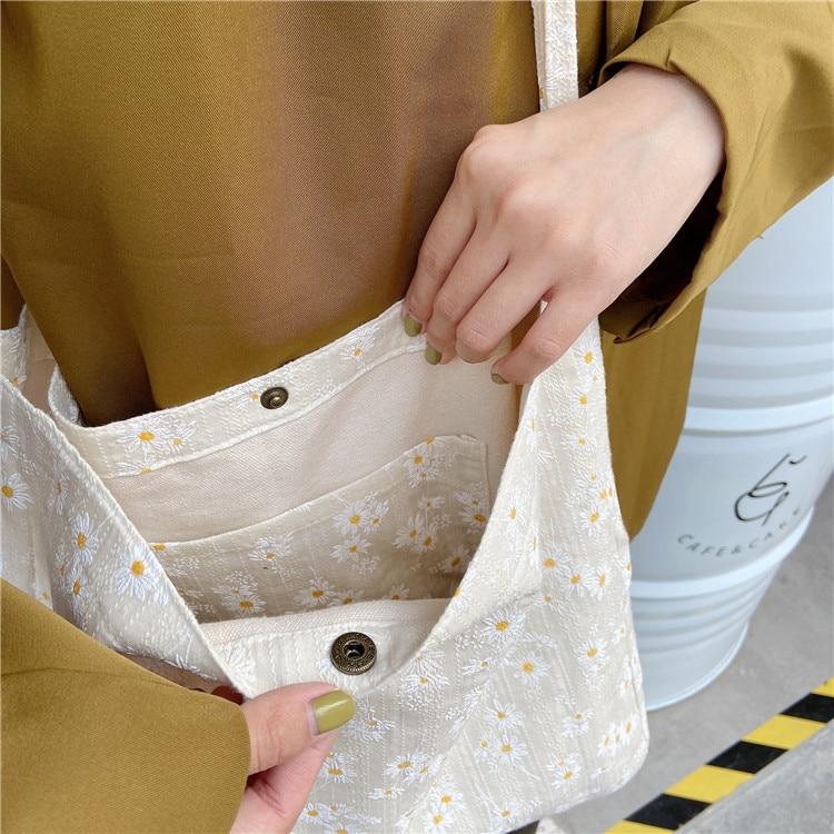 Women Canvas Shoulder Bag Daisy Print Cotton Cloth Designe Retro Handbag Shopping Tote Environmental Bags