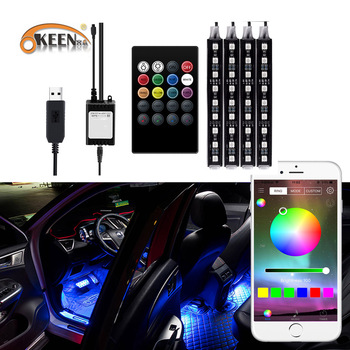Led RGB Car Interior Atmosphere Lights Ambient light Usb App Wireless Remote Music Control Automotive Decorative Neon Foot Lamp 4pcs hot rgb 12led car interior atmosphere neon light strip wireless remote control led lamp auto car decorative bulb